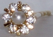 Pearl and Crystal Hair Pin Pair Gold Metal